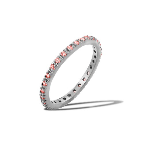 Wholesale Sterling Silver 925 Rhodium Plated Plated Birthstone Inlay Eternity Ring July - BGR00339JUL
