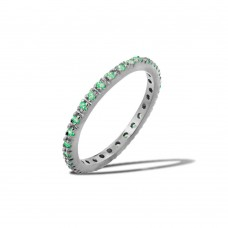 Wholesale Sterling Silver 925 Rhodium Plated Plated Birthstone Inlay Eternity Ring May - BGR00339MAY