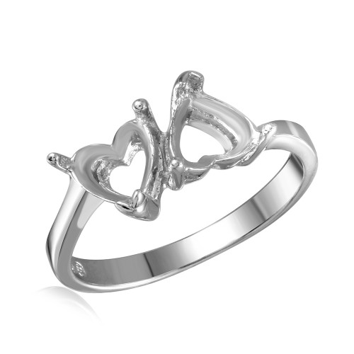 Wholesale Sterling Silver 925 Rhodium Plated Double Heart Mounting Ring - BGR00474