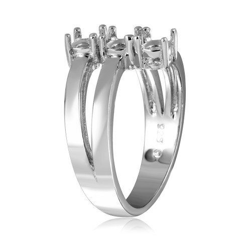 Wholesale Sterling Silver 925 Rhodium Plated Open Shank 3 Stone Mounting Ring - BGR00475