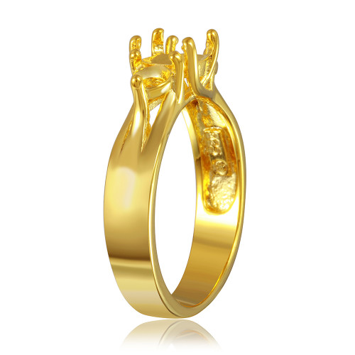 Wholesale Sterling Silver 925 Gold Plated 3 Stones Mounting Ring - BGR00481GP