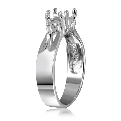 Wholesale Sterling Silver 925 Rhodium Plated 3 Stones Mounting Ring - BGR00481