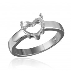 Wholesale Sterling Silver 925 Rhodium Plated Heart Mounting Ring - BGR00482