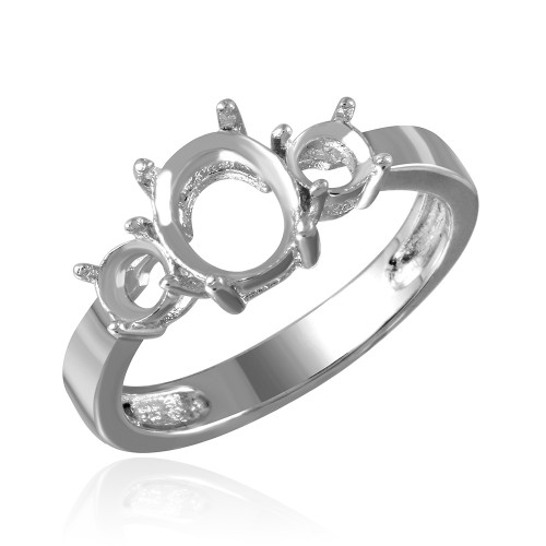 Wholesale Sterling Silver 925 Rhodium Plated 3 Stone Oval Center Mounting Ring - BGR00483