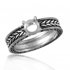 Wholesale Sterling Silver 925 Rhodium Plated Braided Band Design Round Stone Mounting Ring - BGR00484