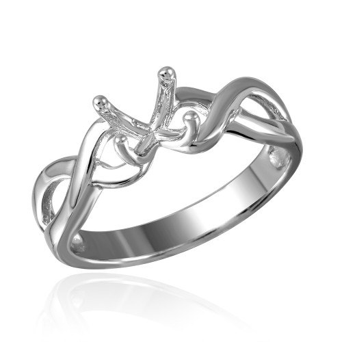 Wholesale Sterling Silver 925 Rhodium Plated Twisted Shank Mounting Ring - BGR00485