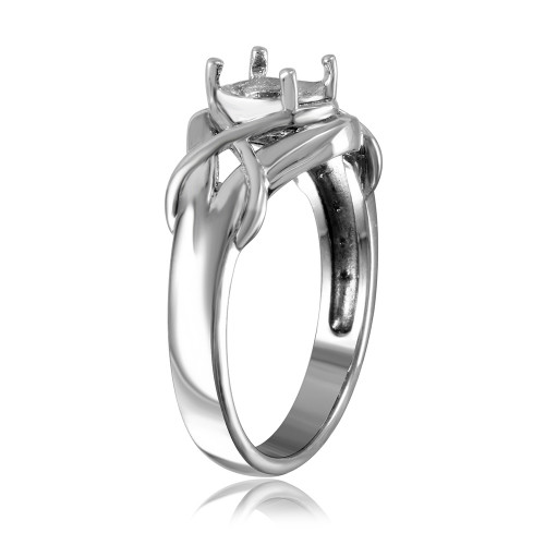 Wholesale Sterling Silver 925 Rhodium Plated Tied Up Design Single Stone Mounting Ring - BGR00486