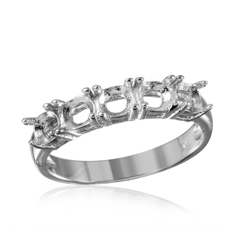 Wholesale Sterling Silver 925 Rhodium Plated 5 Stone Mounting Ring - BGR00487