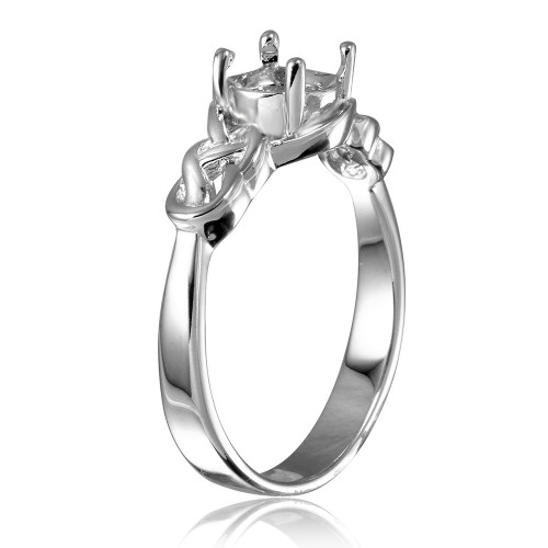 Wholesale Sterling Silver 925 Rhodium Plated Knot Shank Single Stone Mounting Ring - BGR00488
