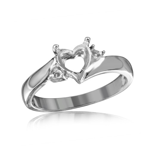 Wholesale Sterling Silver 925 Rhodium Plated Heart Center Stone Mounting Ring - BGR00489