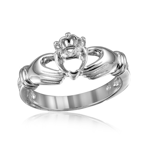 Wholesale Sterling Silver 925 Rhodium Plated Claddagh CZ Heart Mounting Ring - BGR00491
