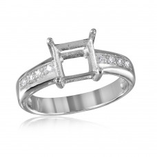 Wholesale Sterling Silver 925 Rhodium Plated Square Mounting with CZ Stones Ring - BGR00492