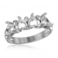 Wholesale Sterling Silver 925 Rhodium Plated 4 Hearts Mounting Ring - BGR00493