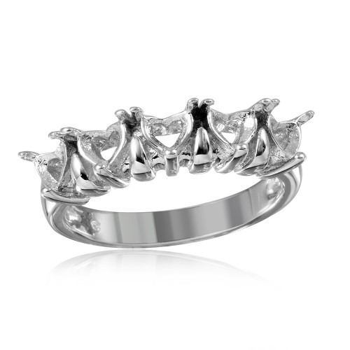 Wholesale Sterling Silver 925 Rhodium Plated 5 Hearts Mounting Ring - BGR00494