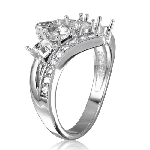 Wholesale Sterling Silver 925 Rhodium Plated 3 Row CZ with 4 Round Mounting Ring - BGR00495