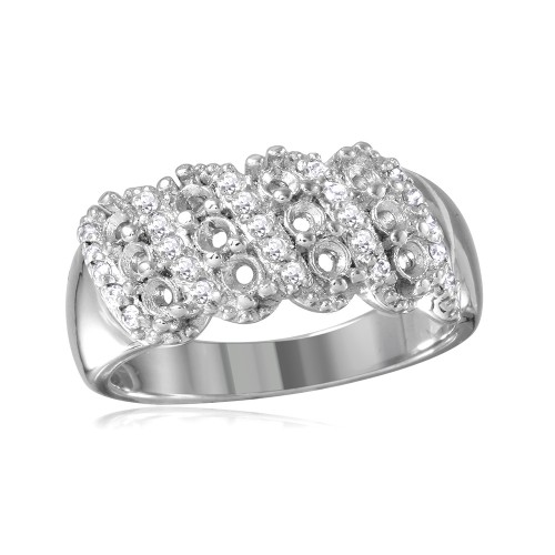 Wholesale Sterling Silver 925 Rhodium Plated Multi Row Mounting Ring with CZ - BGR00496