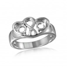 Wholesale Sterling Silver 925 Rhodium Plated Double Open Heart Mounting Ring - BGR00497