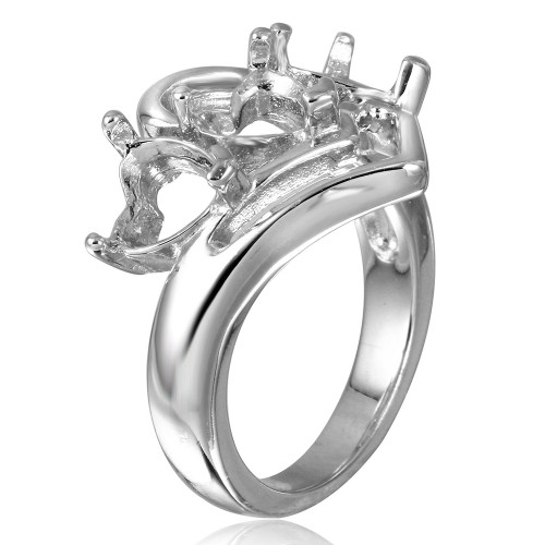 Wholesale Sterling Silver 925 Rhodium Plated 3 Hearts Mounting Ring - BGR00498