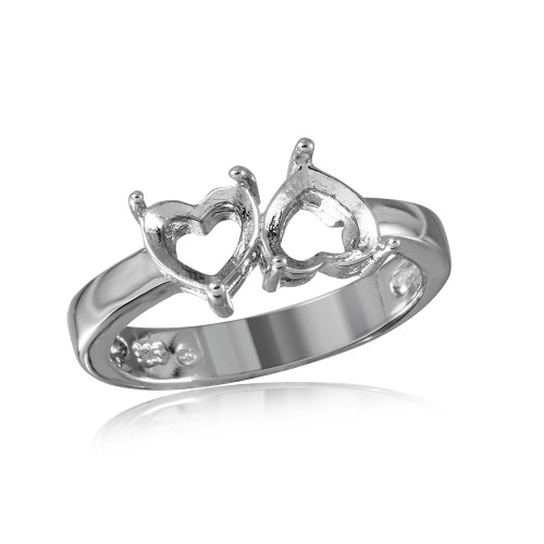 Wholesale Sterling Silver 925 Rhodium Plated Reversed Double Hearts Mounting Ring - BGR00499