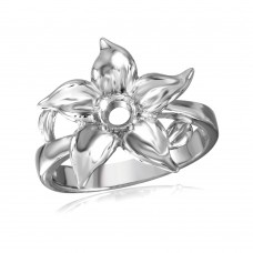 Wholesale Sterling Silver 925 Rhodium Plated Flower Single Stone Mounting Ring - BGR00500