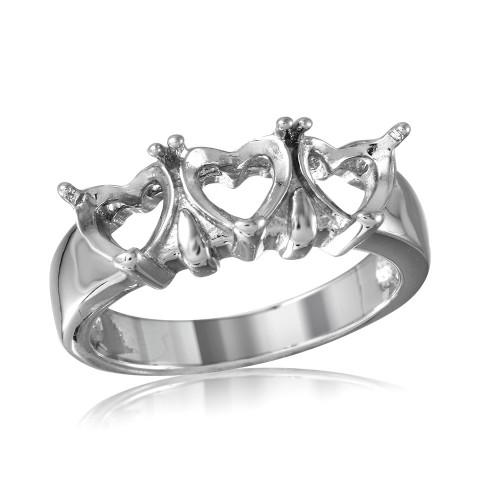 Wholesale Sterling Silver 925 Rhodium Plated 3 Hearts Mounting Ring - BGR00501