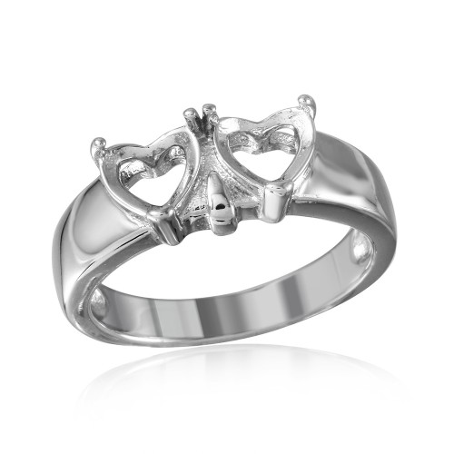 Wholesale Sterling Silver 925 Rhodium Plated Double Heart Mounting Ring - BGR00502