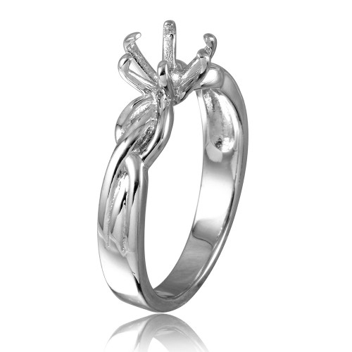 Wholesale Sterling Silver 925 Rhodium Plated 6 Prong Setting Mounting Ring - BGR00518