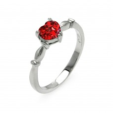 Wholesale Sterling Silver 925 Rhodium Plated CZ Heart Red January Ring - BGR00521JAN