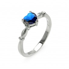 Wholesale Sterling Silver 925 Rhodium Plated CZ Heart Blue September Ring - BGR00521SEP