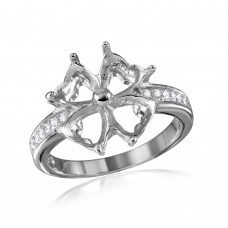 Wholesale Sterling Silver 925 Rhodium Plated Flower Hearts Mounting Ring - BGR00714