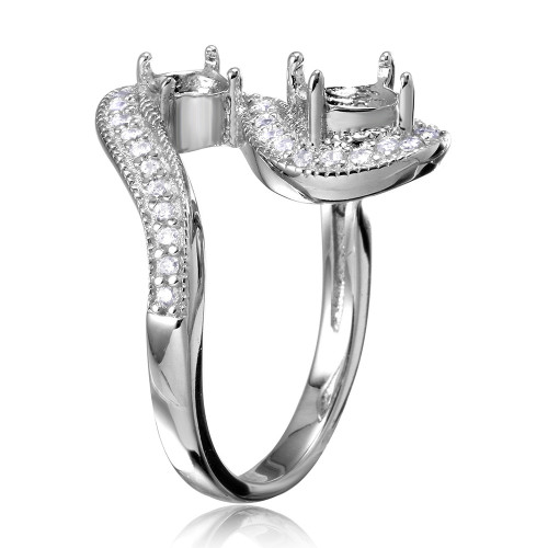 Wholesale Sterling Silver 925 Rhodium Plated Wave CZ Mounting Ring - BGR00812