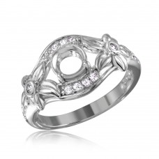 Wholesale Sterling Silver 925 Rhodium Plated Flower Shank Single Stone Mounting Ring - BGR00814