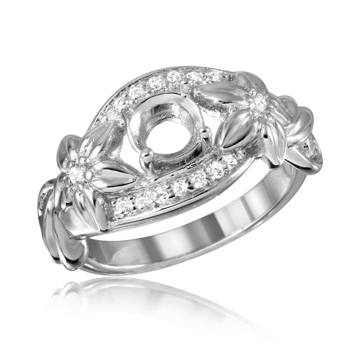Wholesale Sterling Silver 925 Rhodium Plated Flower Shank Single Stone Mounting Ring - BGR00815