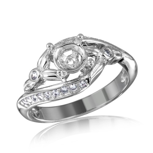 Wholesale Sterling Silver 925 Rhodium Plated Overlap CZ Flower Design Mounting Ring - BGR00816