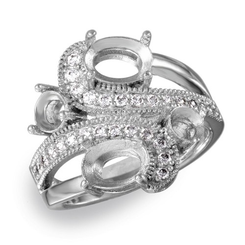 Wholesale Sterling Silver 925 Rhodium Plated 4 Mounting Stones Wave Cz Design Ring - BGR00817