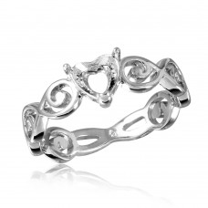 Wholesale Sterling Silver 925 Rhodium Plated Wave Band Design Heart Center Mounting Ring - BGR00818
