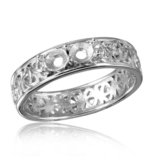 Wholesale Sterling Silver 925 Rhodium Plated Celtic Designed Band 2 Stones Mounting Ring - BGR00828