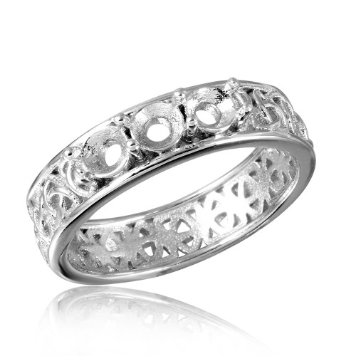 Wholesale Sterling Silver 925 Rhodium Plated Celtic Designed Band 3 Stones Mounting Ring - BGR00829
