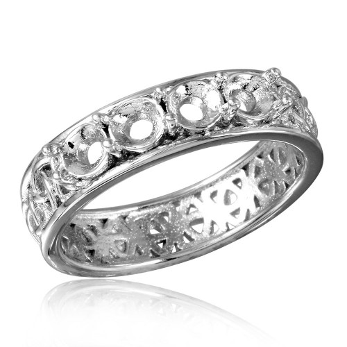 Wholesale Sterling Silver 925 Rhodium Plated Celtic Designed Band 4 Stones Mounting Ring - BGR00830