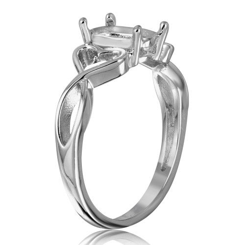 Wholesale Sterling Silver 925 Rhodium Plated Open Heart Shank Single Stone Mounting Ring - BGR00934