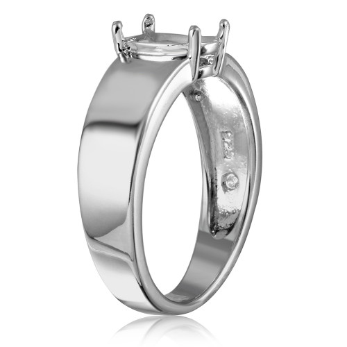 Wholesale Sterling Silver 925 Rhodium Plated High Polished Band Single Stone Mounting Ring - BGR00935