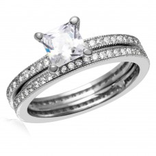 Wholesale Sterling Silver 925 Rhodium Plated Center Square CZ Bridal Wedding Ring Set - BGR01007