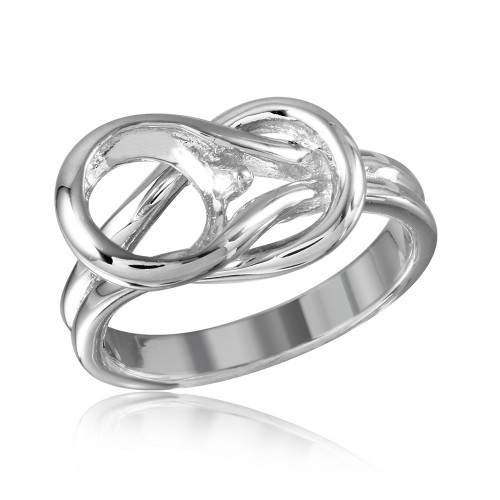 Wholesale Sterling Silver 925 Rhodium Plated Lock Single Stone Mounting Ring - BGR01014