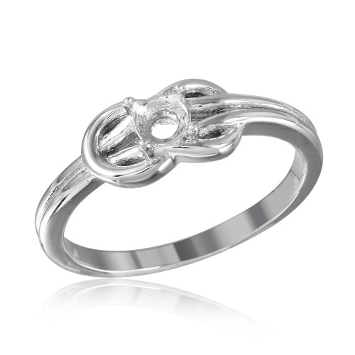 Wholesale Sterling Silver 925 Rhodium Plated Double Knot Single Stone Mounting Ring - BGR01015