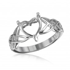 Wholesale Sterling Silver 925 Rhodium Plated Criss Cross Designed Shank Heart Mounting Ring - BGR01016