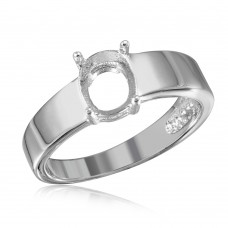 Wholesale Sterling Silver 925 Rhodium Plated High Polished Band Slanted Single Stone Mounting Ring - BGR01017
