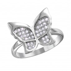 Sterling Silver Rhodium Plated Butterfly Ring With Micro Pave CZ Stones - BGR01019