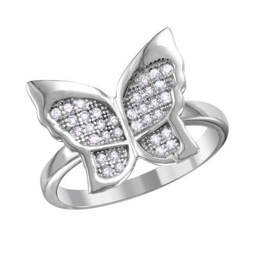Wholesale Sterling Silver 925 Rhodium Plated Butterfly Ring with Micro Pave CZ Stones - BGR01019
