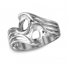 Wholesale Sterling Silver 925 Rhodium Plated Split Shank Double Oval Stone Mounting Ring - BGR01020
