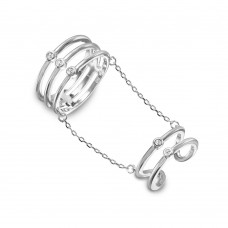 Sterling Silver Rhodium Plated 2 Rings In 1 Attached On A Chain - BGR01025